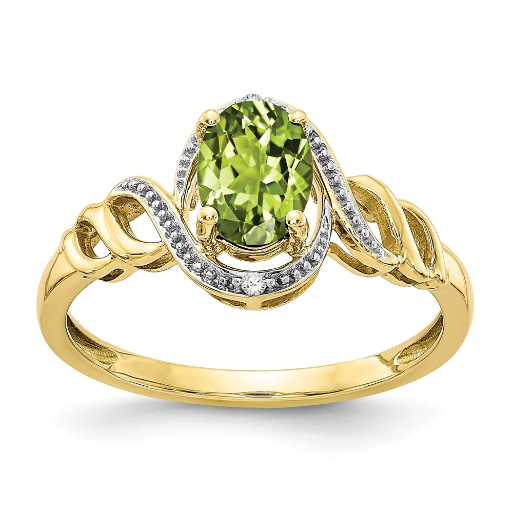 10k Yellow Gold 6x4mm Oval Peridot Diamond Ring