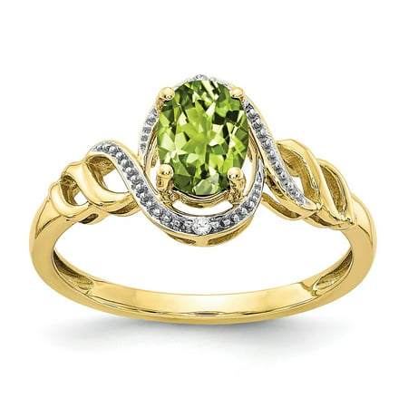 Solid 10k Yellow Gold Simulated Peridot Diamond Ring (2mm) - Size 4