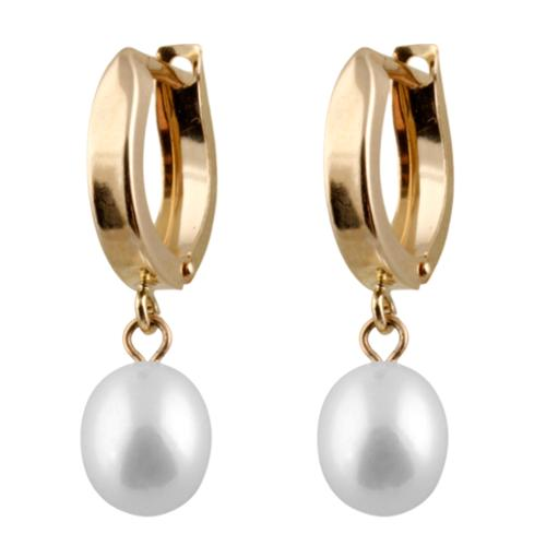 Gilo Creations 14k Gold Freshwater Pearl Round Stud Earrings (6-7mm)