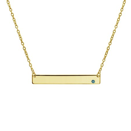 Engravable Sideways Bar Name Plate Pendant Necklace For Teen Women 14K Gold Plated Sterling Silver 12 Birth Month Colors ()