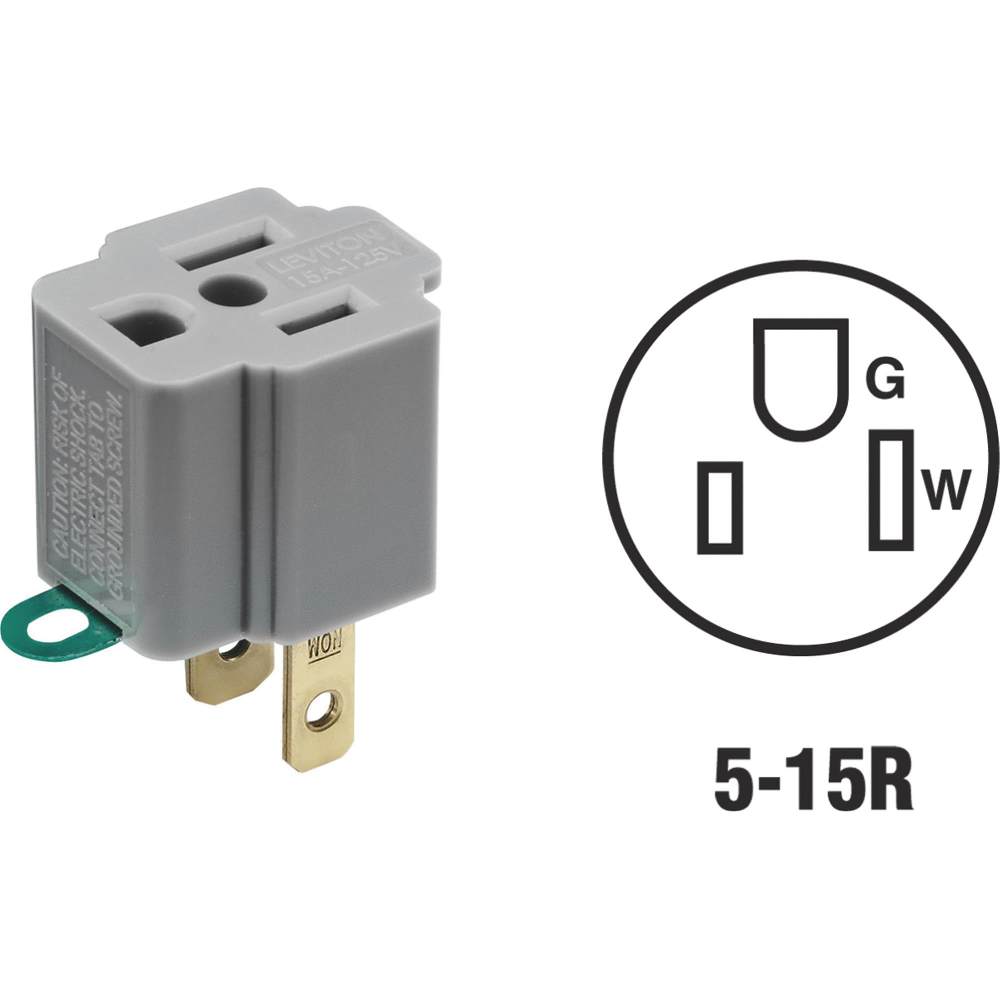 Leviton Grounding Cube Tap Outlet Adapter