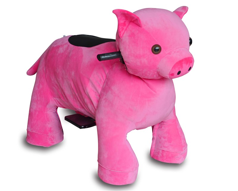 Motorized Plush Pink Pig Ride On Toy by SIBO