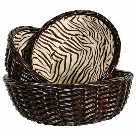 Lamont Zaharra Three Piece Round Basket Set with Zebra Lining in Chocolate WL...
