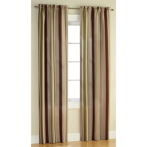 Mainstays Poly Duck Stripe Curtain Panel, Set of 2 by