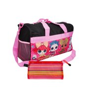 "Girls L.O.L. Surprise! Duffel Bag 18"" Black Pink & Zippered Travel Accessories Pouch"