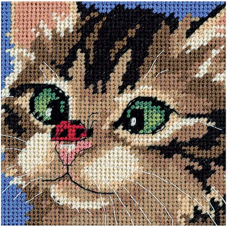Dimensions  Cross Eyed Kitty  Mini Needlepoint Kit  5  X 5   Stitched In Yarn And Thread