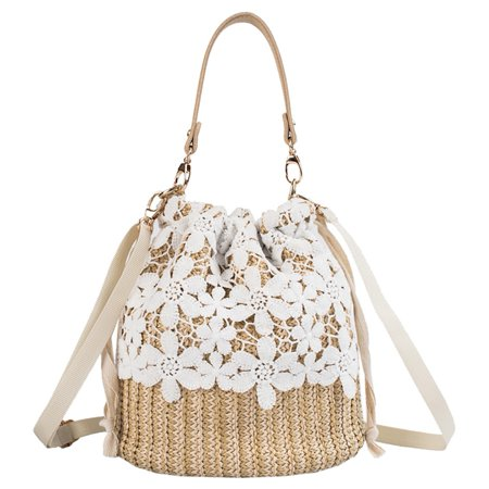 Fysho Women Lace Flower Straw Handbag Tote Summer Holiday Woven Bucket Bag Shoulder Bag Crossbody Bag