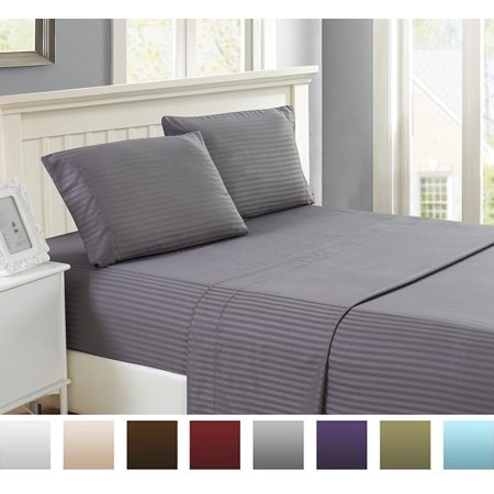 Lux Decor Striped Bed Sheet Set Brushed Microfiber 1800 Bedding