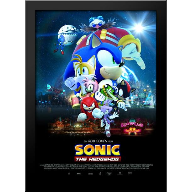 Sonic The Hedgehog 28x38 Large Black Wood Framed Print Movie Poster Art Walmart Com Walmart Com