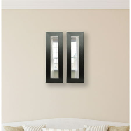 Black Leather Mirror (Rayne Mirrors Molly Dawn Wide Black Leather Wall Mirror )