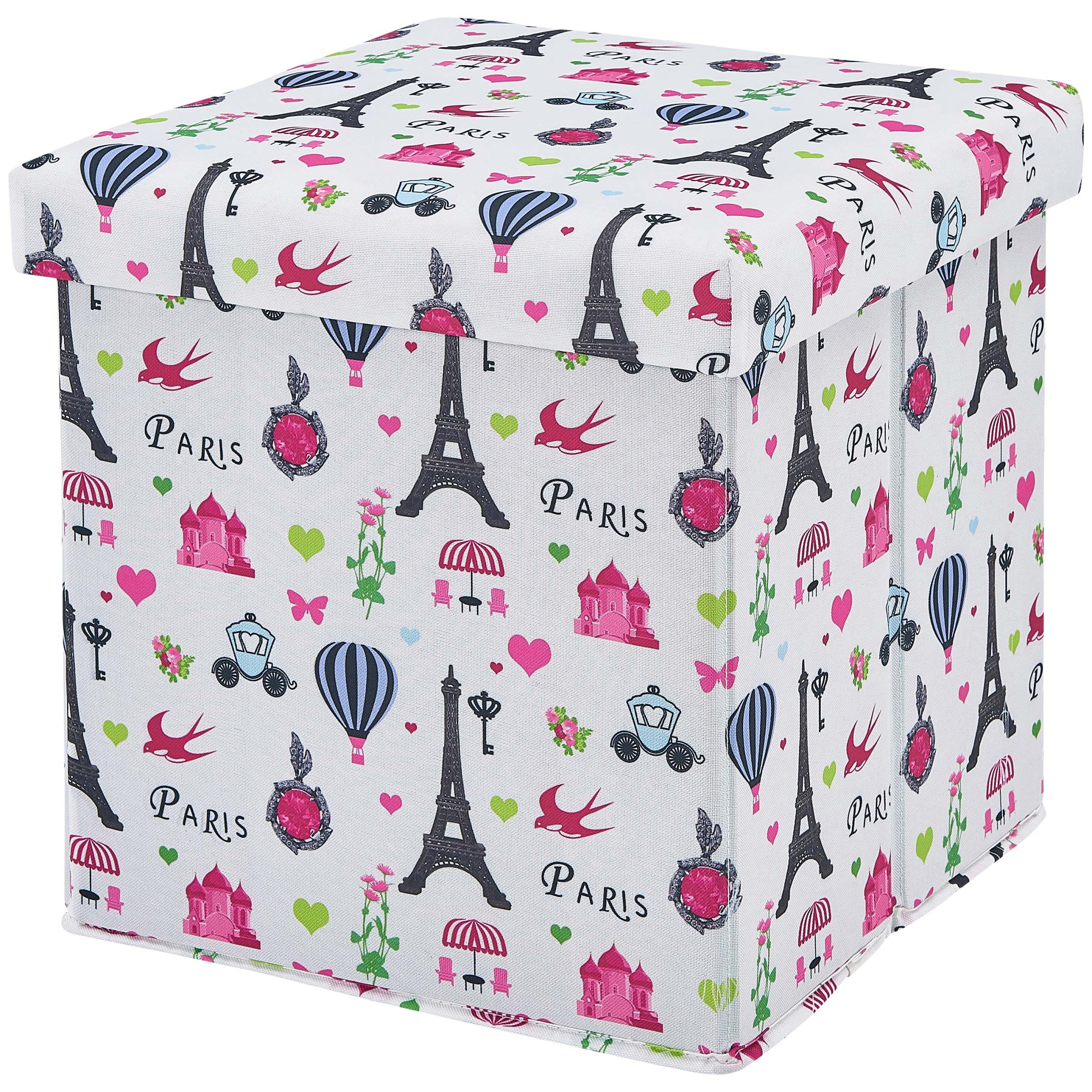 Mainstays Kids Paris Collapsible Storage Ottoman, Paris Themed Design