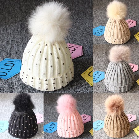 e3094c5ea611 Urkutoba - Newborn Baby Boy Girls Winter Warm Double Fur Pom Bobble ...