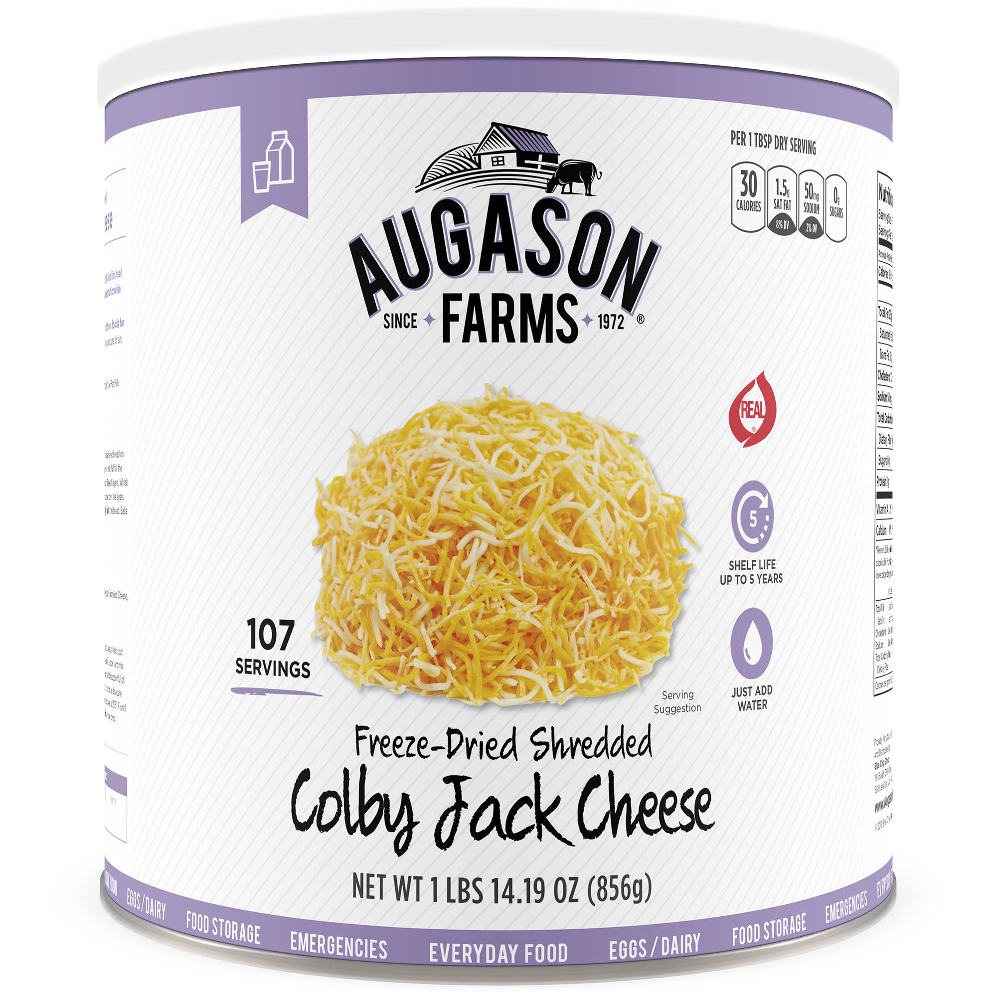 Augason Farms Freeze Dried Shredded Colby Jack Cheese 30.19 oz #10 Can by