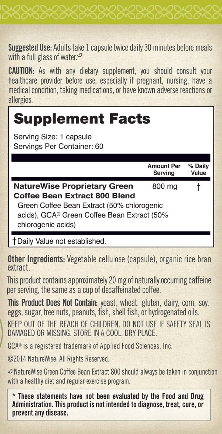 NatureWise Green Coffee Bean Extract 800 with GCA Natural Weight Loss Capsules,...