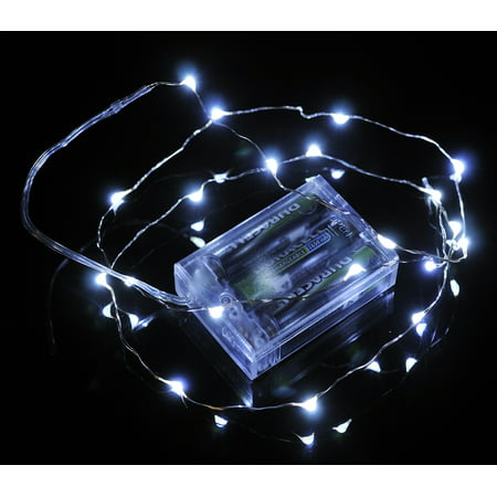 Fantado 20 White LED Micro Fairy String Lights, Wire (6ft, Battery Operated) by PaperLanternStore (Micro Led Lights)