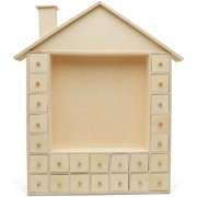 Christmas Advent Calendar 19 x 16-1/2 Inch, Pre Assembled Ginger Bread House Shadow Box, Wooden Advent Calendar with Drawers, Ready to Decorate and Personalize, for DIY & Crafters by Woodpeckers