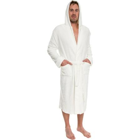 Ross Michaels - Ross Michaels Mens Plush Shawl Style Kimono Hooded Bath Robe  (White 39a8fafa7