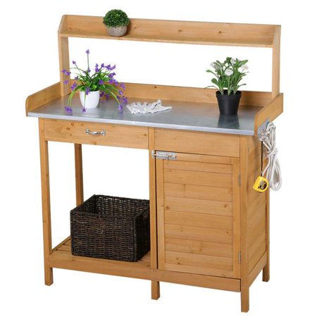 Yaheetech Wood Potting Bench with Metal Tabletop - Natural Finish