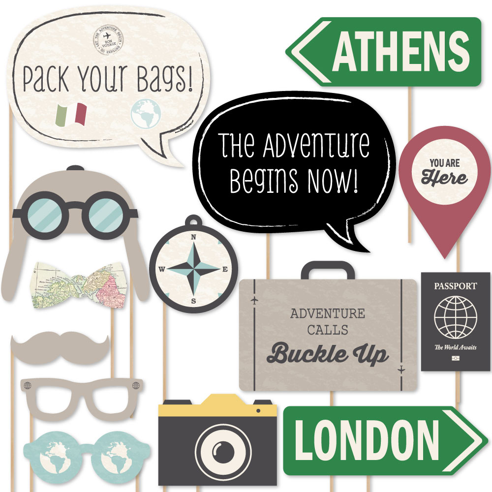 World Awaits - Travel Party Photo Booth Props Kit - 20 Count