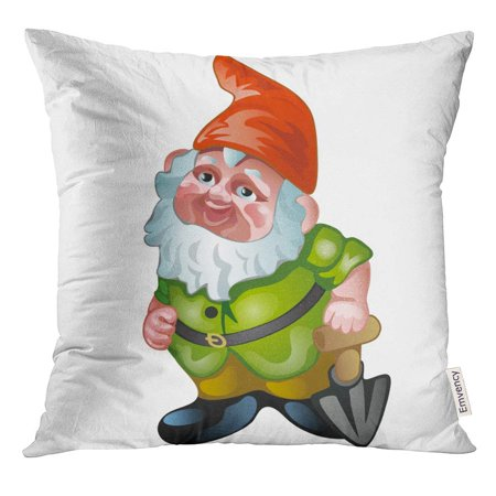 CMFUN Green Kitschy Ceramic Figurine in The Form of Garden Gnome White Cartoon Close Up Red Beard Pillow Case 16x16 Inches - Gnome Beards