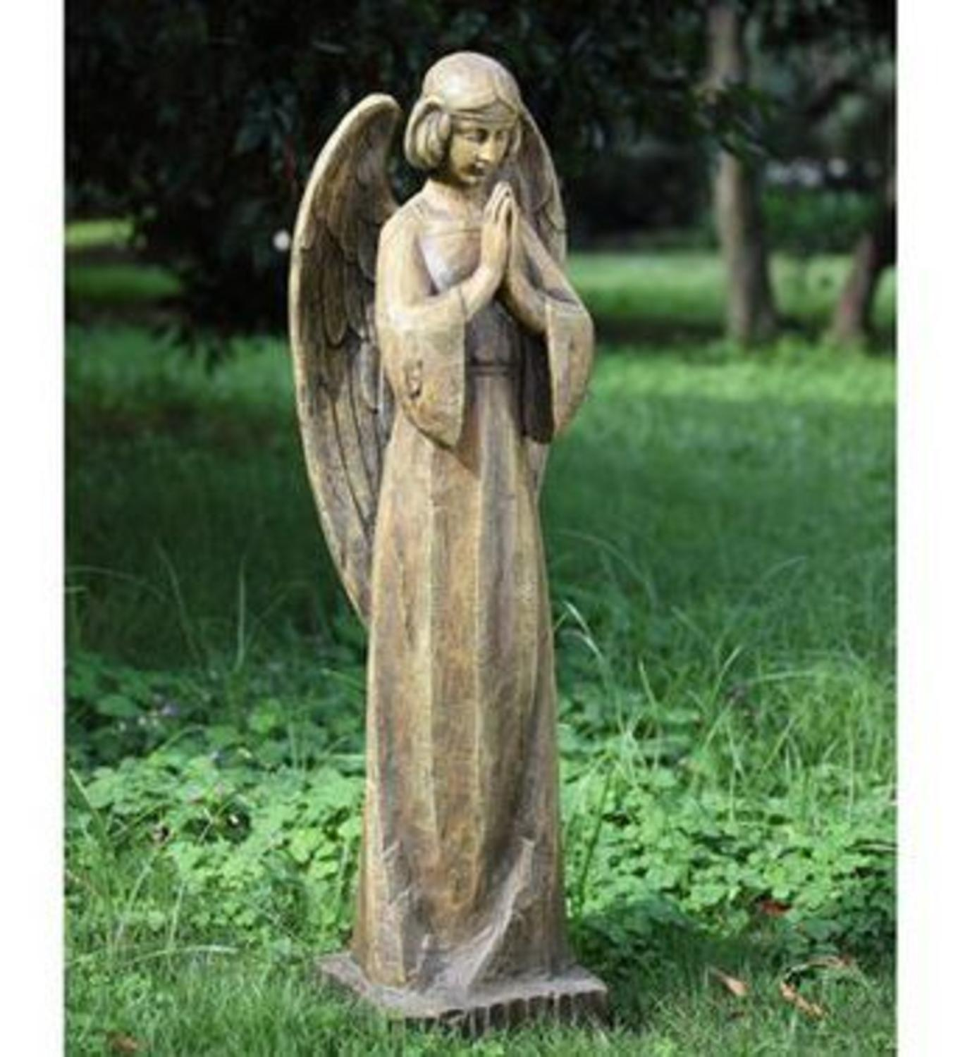 "CC Outdoor Living 34.5"" Wood Carved Religious Praying Ang..."