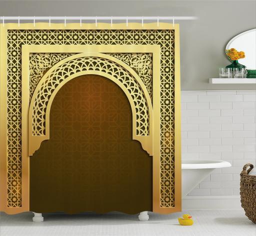 Moroccan Shower Curtain, Middle Eastern Ramadan Greeting Scroll Arch Figure... by Kozmos