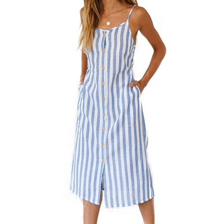 Casual Gold Dress (Women Striped Buttons Midi Dress Ladies Summer Party Beach Loose Casual)