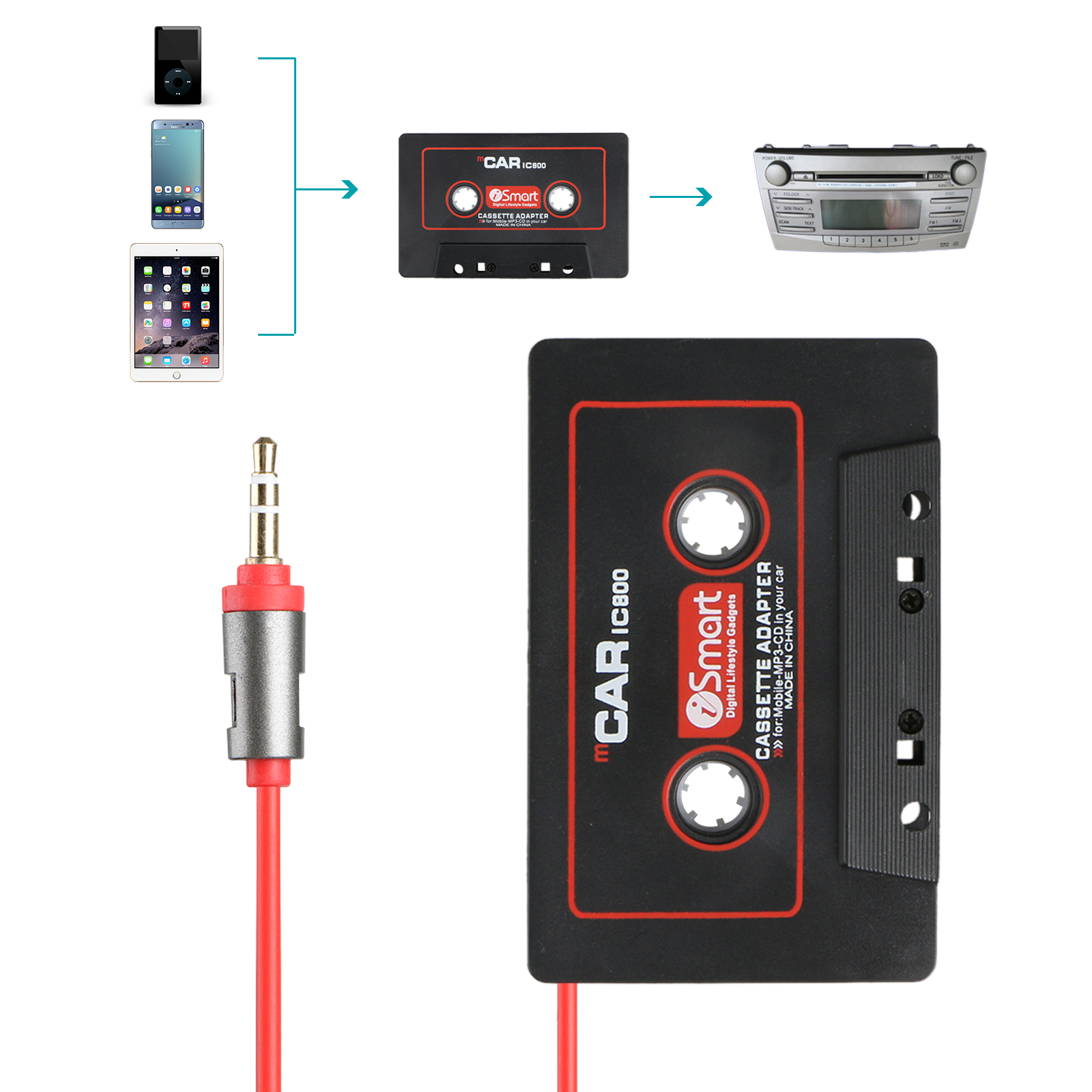TSV Car Audio AUX Cassette Player Tape 3.5mm Adapter Aux Cable Cord For MP3 Phone
