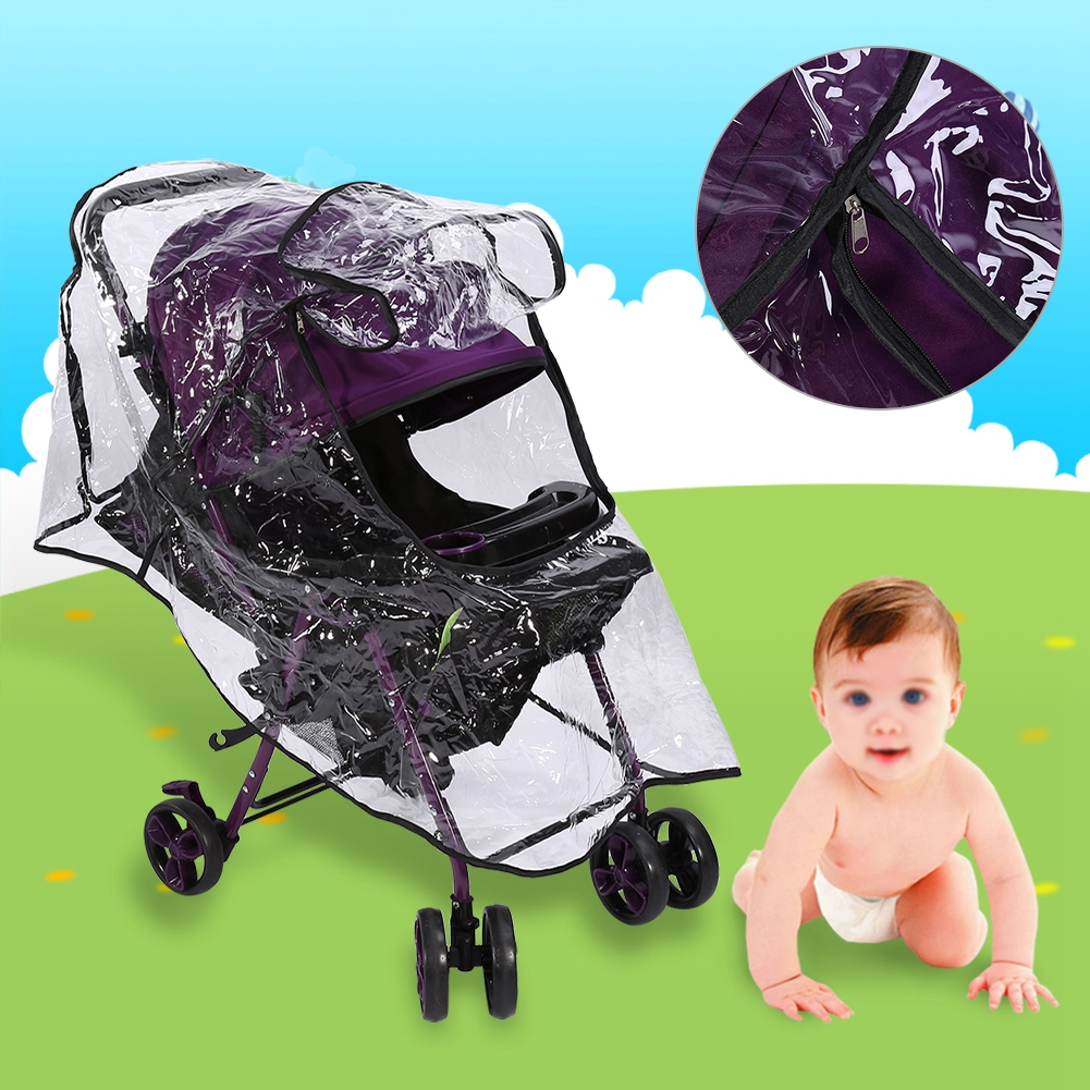 Surrui Stroller Rain Cover Weather Shield Cover Baby Carriage Waterproof Umbrella Black