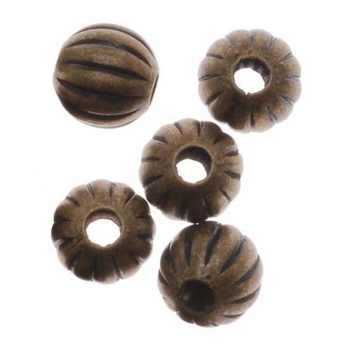 Antiqued Brass Balloon 6mm Round Beads (100)
