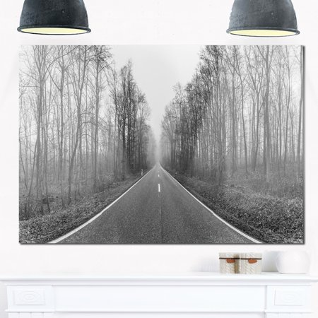 DESIGN ART Black and White Freeway in Forest - Landscape Glossy Metal Wall Art
