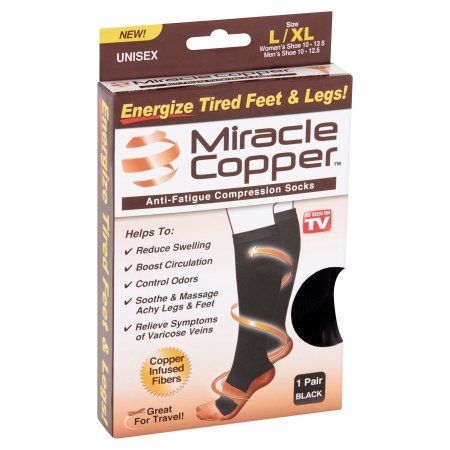 Compression Baseball Socks - As Seen on TV Miracle Copper, Copper-Infused Compression Socks, L/XL