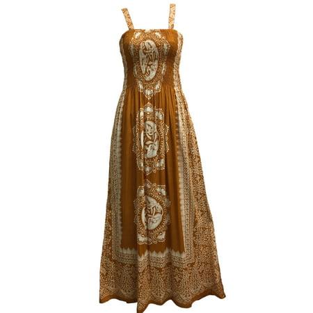 Celtic Print Sleeveless Bohemian Summer Long Maxi Dress (Gold - Celtic Warrior Dress