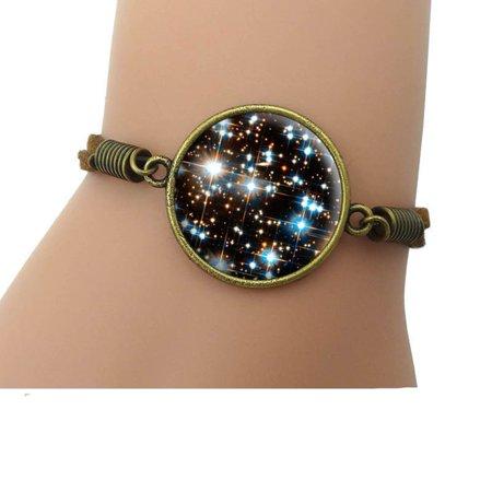 Solar System Space Stars Universe Charm Bracelet Galaxy Leather Bracelet, JewlB:14
