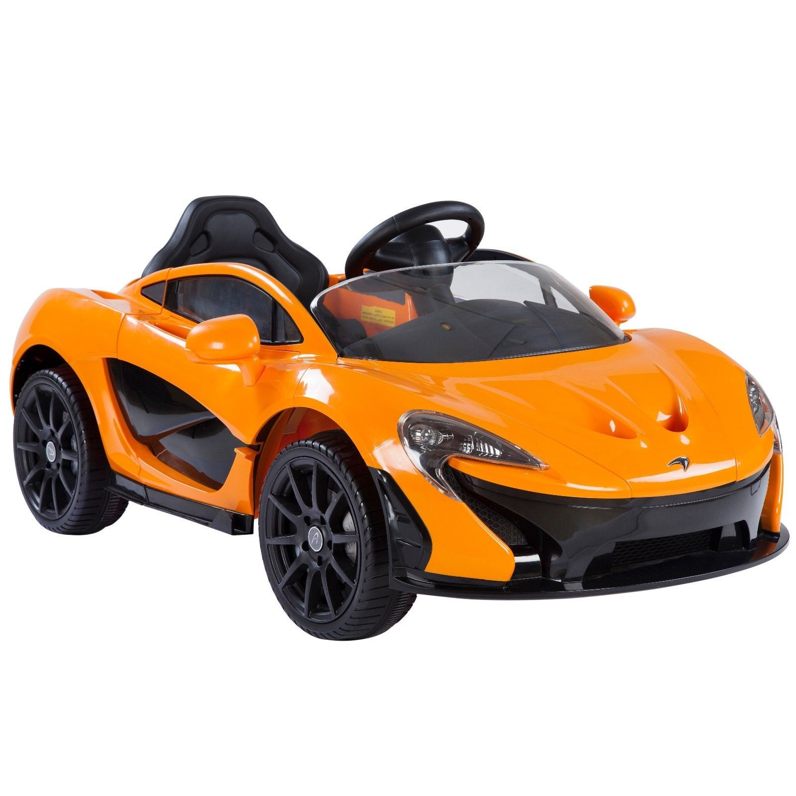 Electric 12V power car McLaren P1 Ride On For Kids With Remote Control LED lights MP3 & USB port engine start sound - Orange