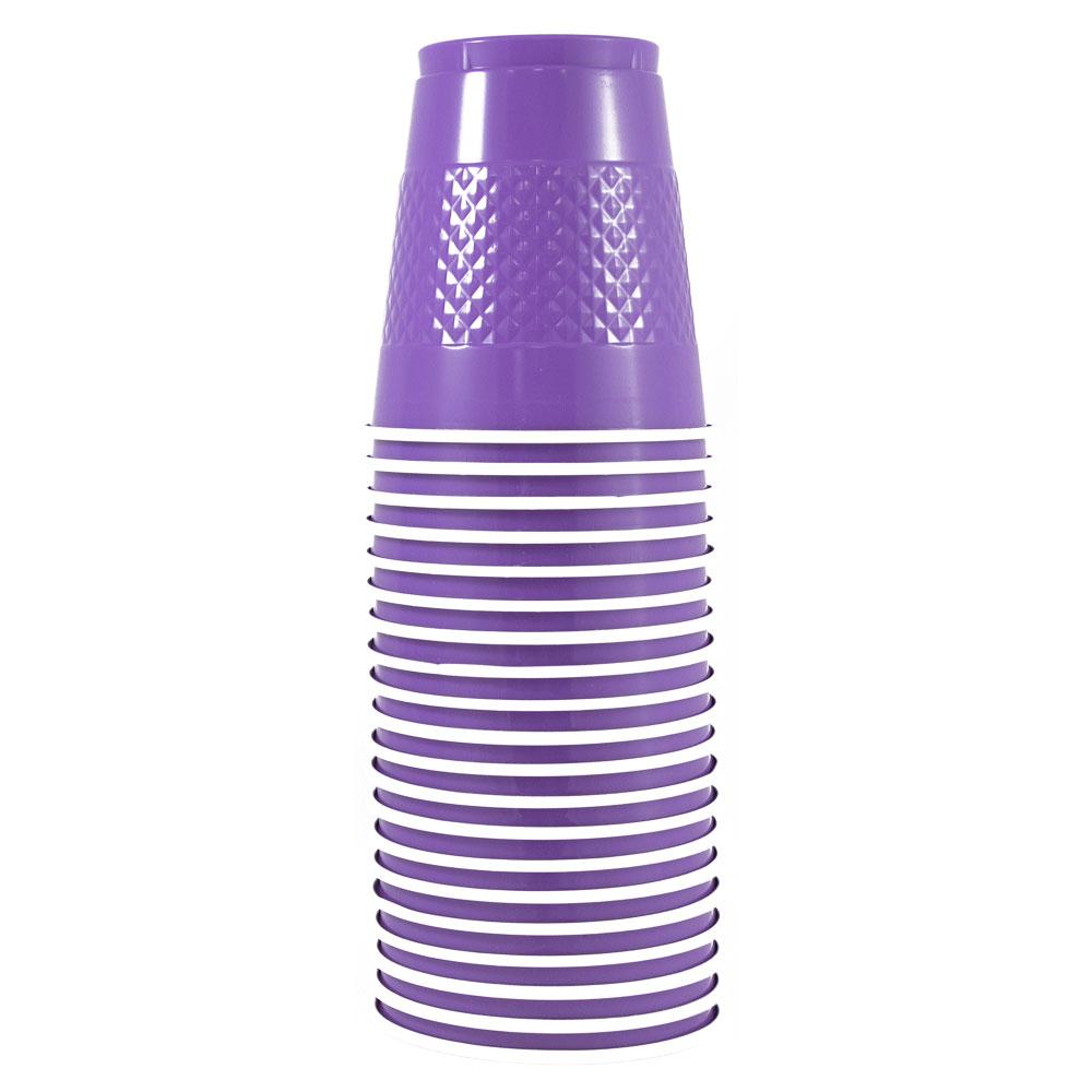 JAM Paper® Bulk Plastic Cups, 12 oz, Purple, 200 Cups/Box