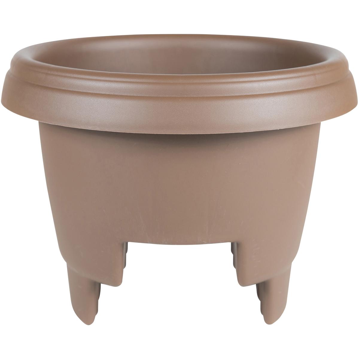 "Bloem Round Deck Rail Planter 12""-Chocolate"