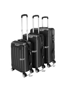 Zimtown 3Pcs Luggage Travel Set Bag TSA Lock ABS Trolley Spinner Carry On Suitcase, Black
