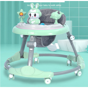 Baby Walker Anti Rollover Learning Walking Toy Car Free Installation for Baby 6-18 Months(24in-35in) Cloth Green