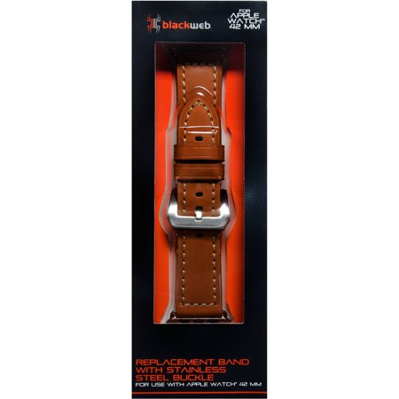 Blackweb Leather Replacement Band For Apple Watch, 42mm, Light Brown