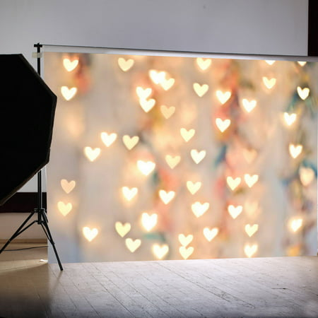 7x5FT Heart Love Lighting Photography Vinyl Fabric Backdrop Photo Studio Props Background - Photo Back Drop