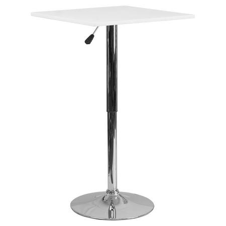 Flash Furniture 23.75'' Square Adjustable Height White Wood Table (Adjustable Range 33'', 40.5'')