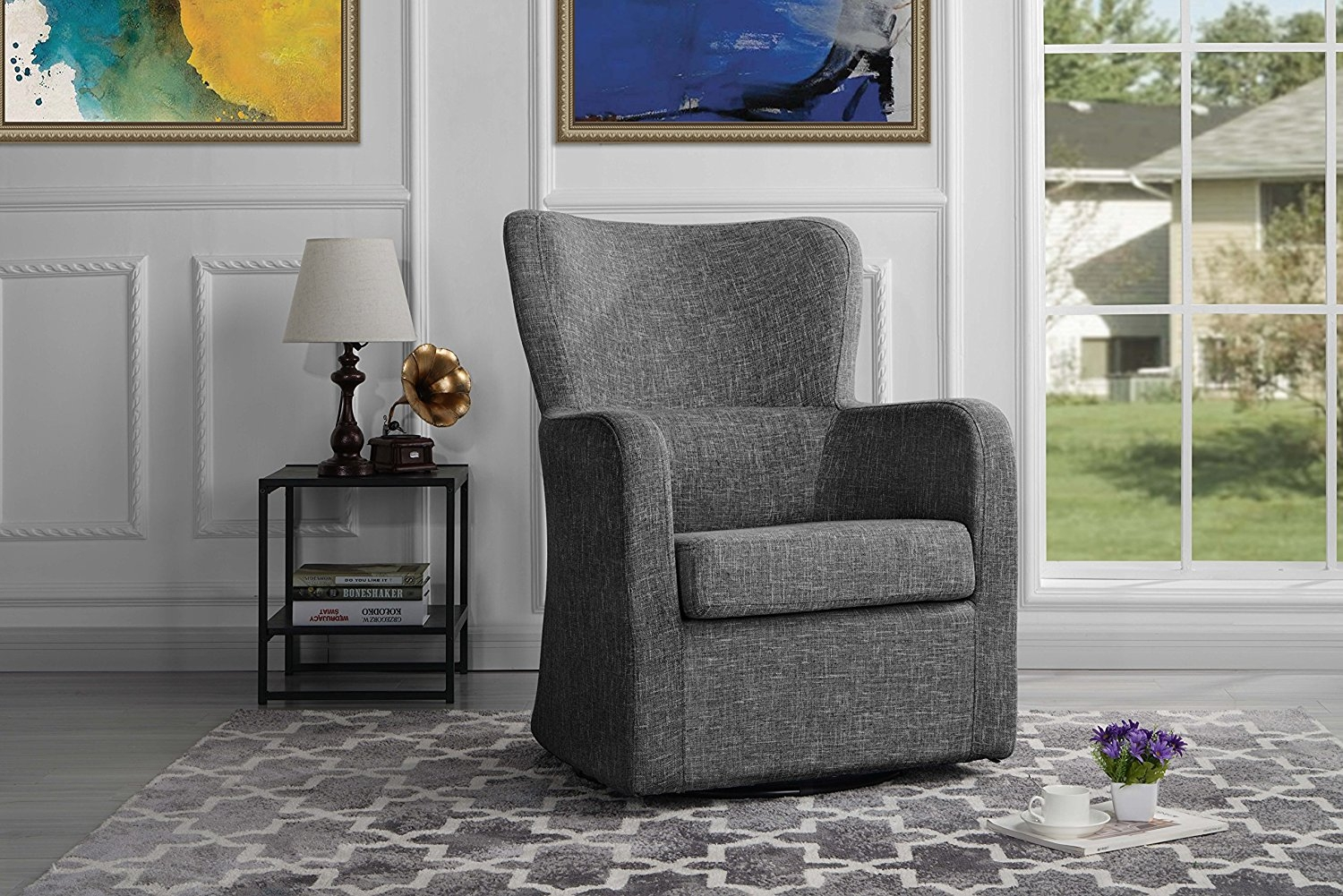 Modern Swivel Armchair, Rotating Accent Chair for Living Room (Light Grey) by Homesgood Mania