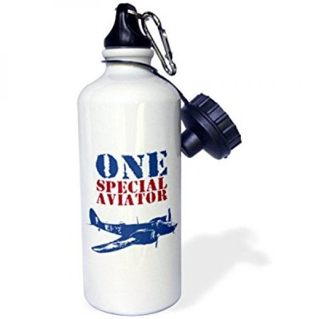 Special Order Bottles - 3dRose Grunge Blue Fighter Plane With The Words One Special Aviator, Sports Water Bottle, 21oz