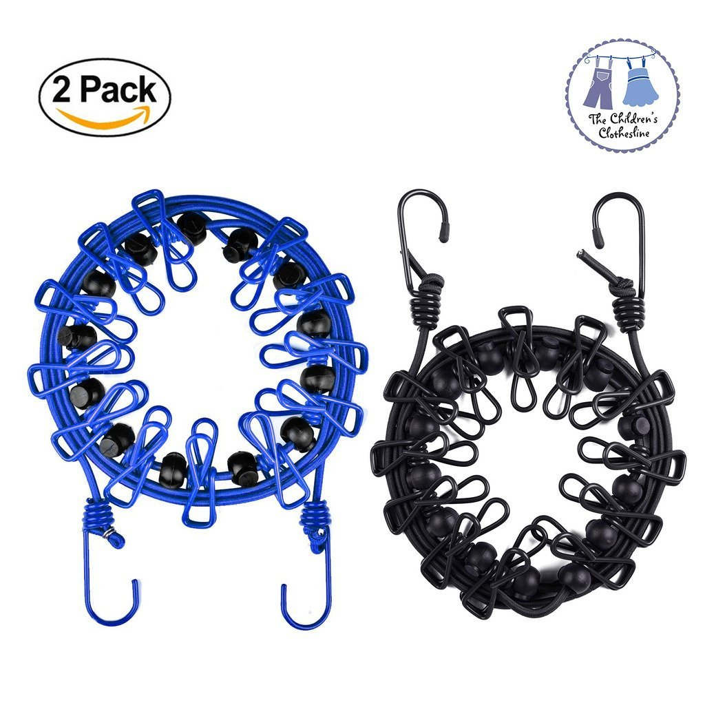 2 Pack Retractable Travel Clothesline Outdoor Windproof Laundry Rope Anti-Skid Clothespin Adjustable Elastic Clothing Line (Black + Blue)