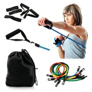 New 11 Piece Resistance Band Set Heavy Duty Yoga Pilates Abs Exercise Fitness Workout Bands by