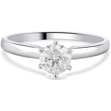 1/3 Carat T.W. Round Diamond 14K White Gold Solitaire Engagement Ring