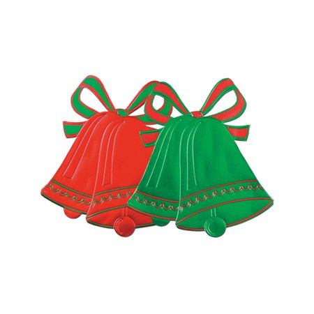 Christmas Bells Hard Foil Paper Green And Red Cut Out Decorations 2 Pack
