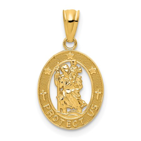 14K Yellow Gold Gold Polished St Christopher Pendant - image 1 of 2