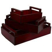 Wooden Trays (Set of 3) Red